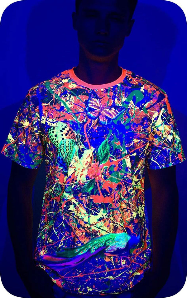Design Rave T-Shirt Neon Glow in UV Fluorescent Splash Flamingo tss3