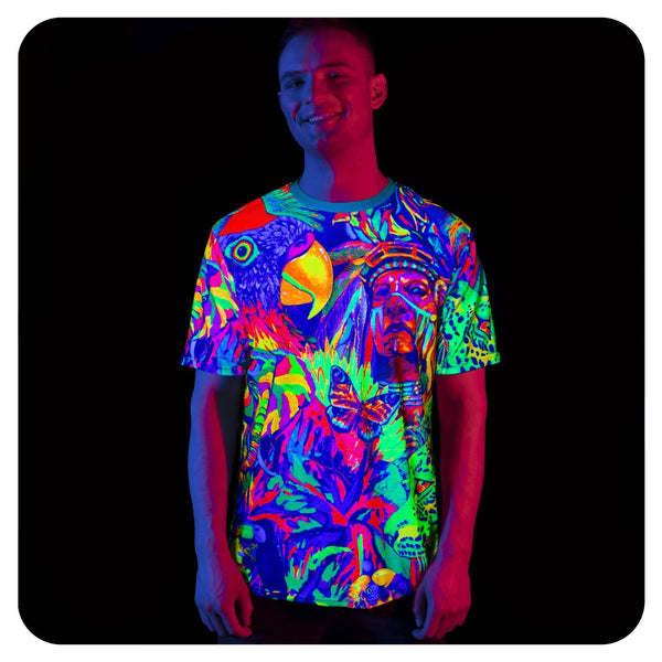 Fluorescent Purple T-Shirt Neon Glow in UV Fluorescent Leopard Africa tss15