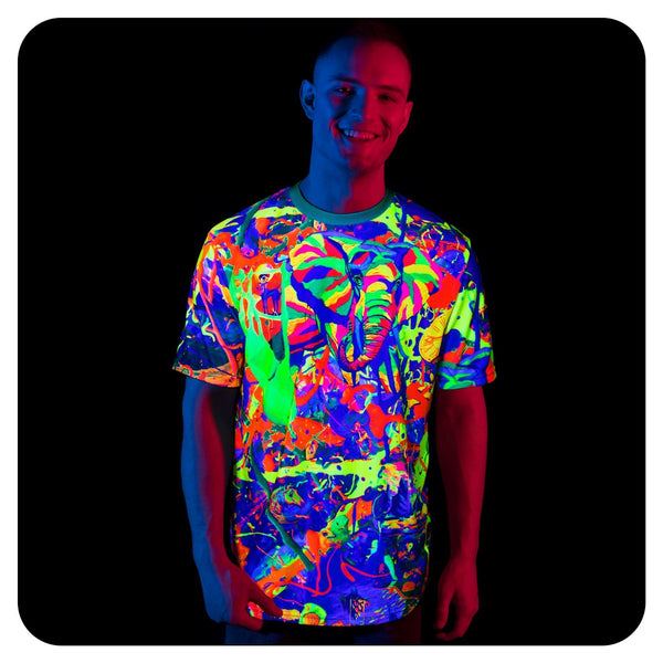 Graphic Neon Print T-Shirt Glow in UV Fluorescent Splash Elegant Elephant tss5