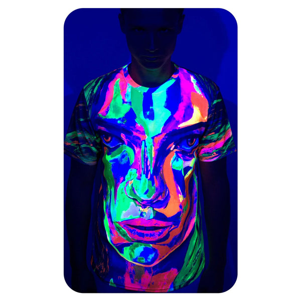 Graphic Print T-Shirts Glow in UV Fluorescent Face Dragon ts8