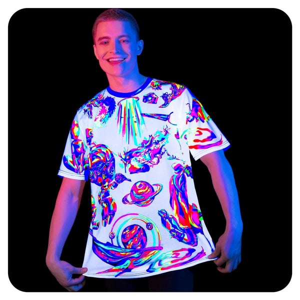 Neon Glow T-Shirt for Women Glow in UV Fluorescent Cosmic White ts39