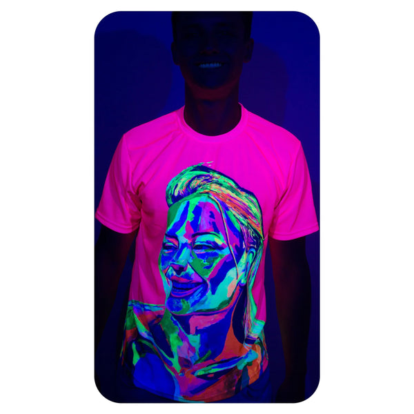 Neon Green Graphic Tee Blacklight Reactive Party Rave Pink Girl ts12