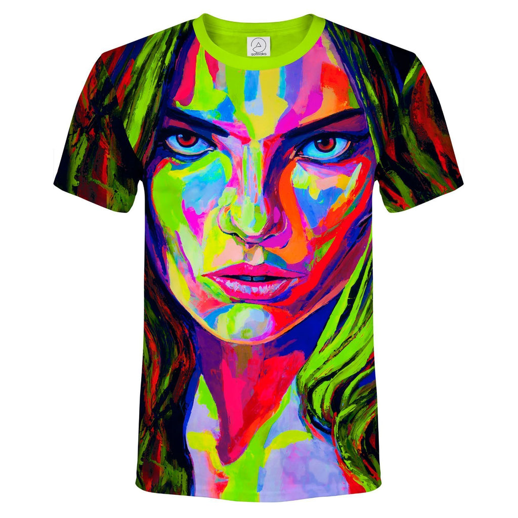 Neon Green Shirt Glow in UV Fluorescent Face Dragon ts8