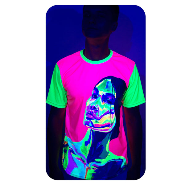 Neon Green T-Shirt Mans Glow in Ultraviolet Fluorescent Ulia ts10