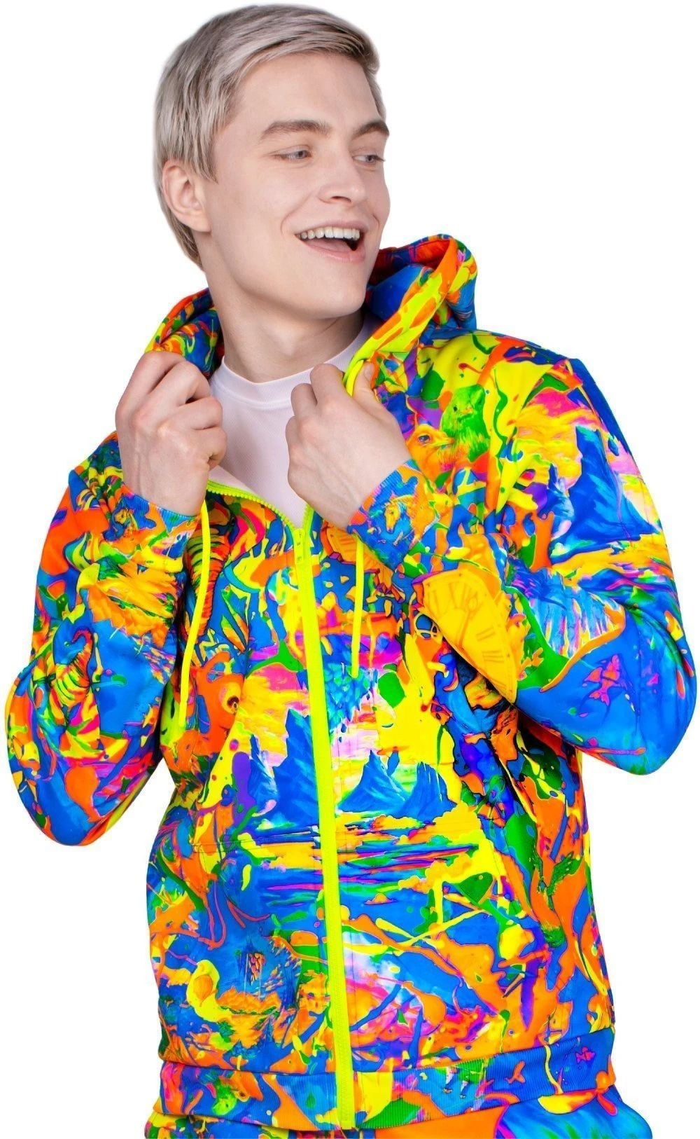 Neon Hoody Elegant Elephant Zip-up UV Fluorescent Blacklight zhm5