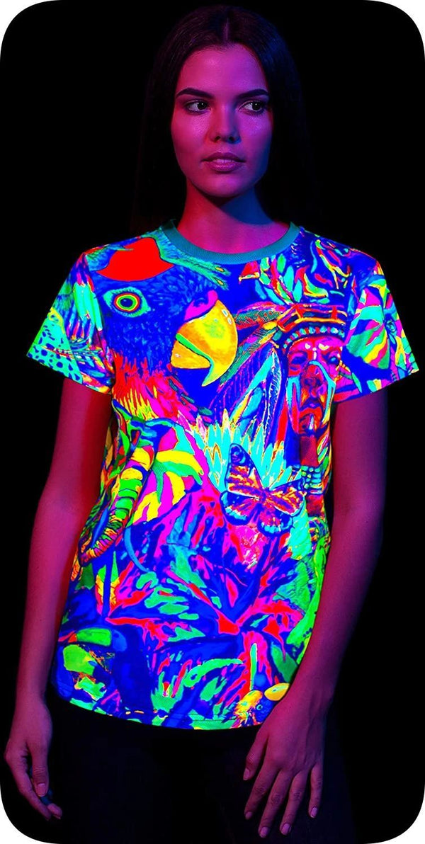 Neon Orange Oversized T Shirt in UV Fluorescent Leopard Africa tsw15