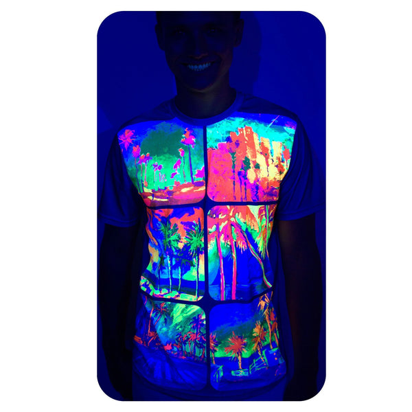 Neon Pink T Shirt Ladies Glow in UV Fluorescent Neon Design ts4