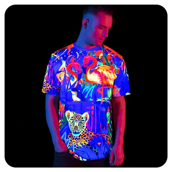 Neon Purple T-Shirt Design Glow in UV Fluorescent Lion Jungle tss13
