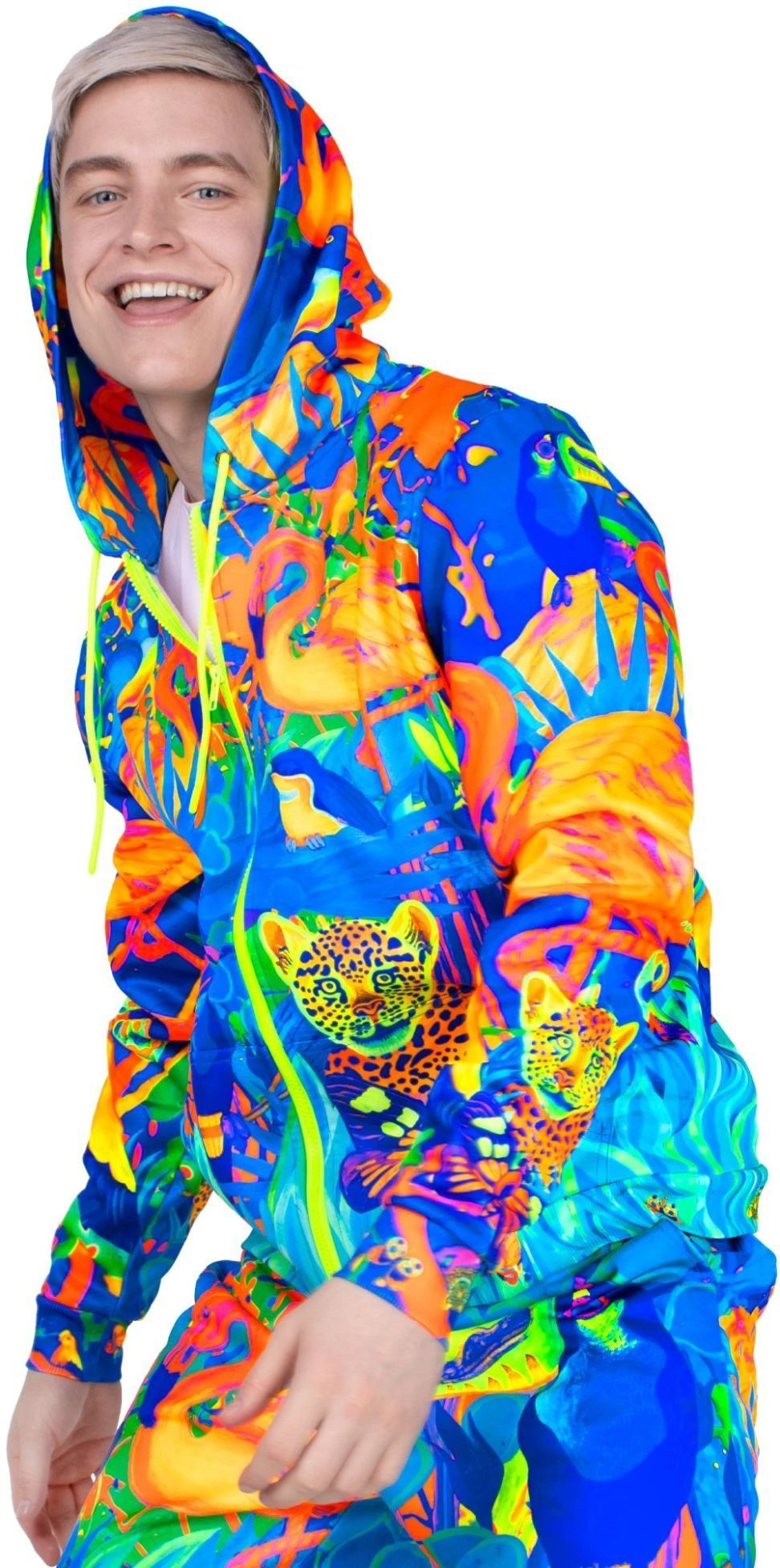 Neon Zip Hoodie Glow in The Blacklight Lion Jungle zhm13