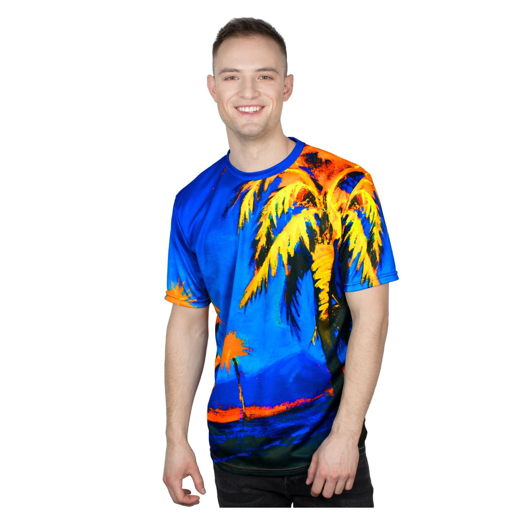 Palms Print T-Shirts Neon Glow in UV Fluorescent Hawaii Palm tss1