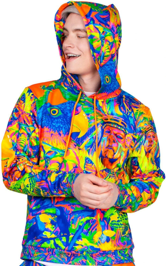 Print Hoodie For Men Women Neon Pattern Leopard Africa bhm15