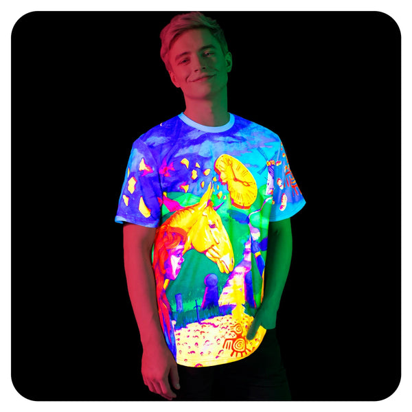 Print T-Shirts Plus Size Glow in UV Fluorescent Time Roulette ts31