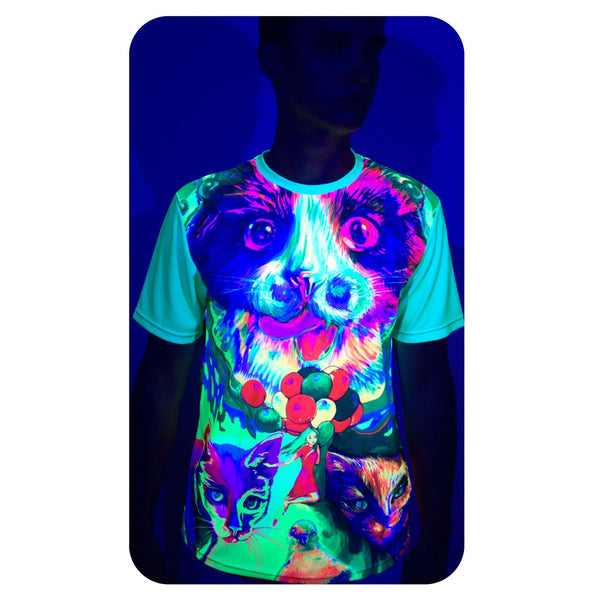 Psychedelic Blacklight Tee Shirt Glow Cats Cats Cats ts7