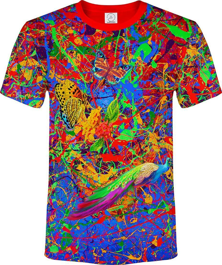 Rave Shirt Neon Glow in UV Fluorescent Splash Flamingo tss3