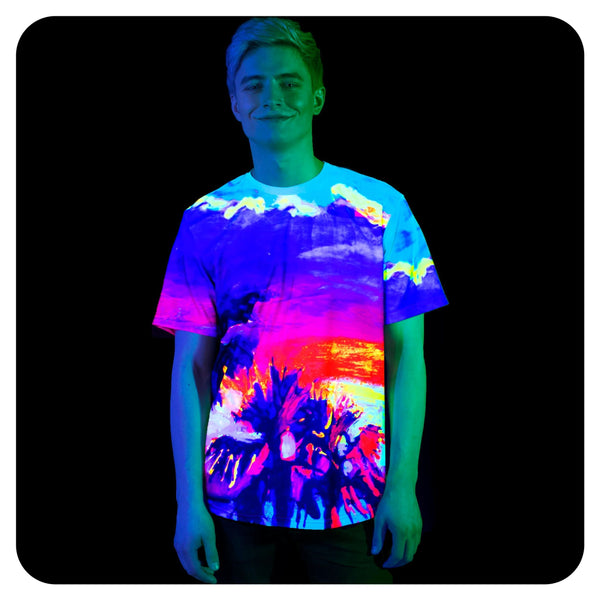 Shirt With Palm Print Glow in Blacklight Fluorescent Paradise Palms ts17