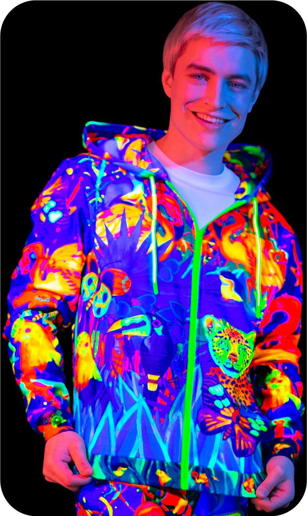 UV Hoody Glow in The Blacklight Lion Jungle zhm13