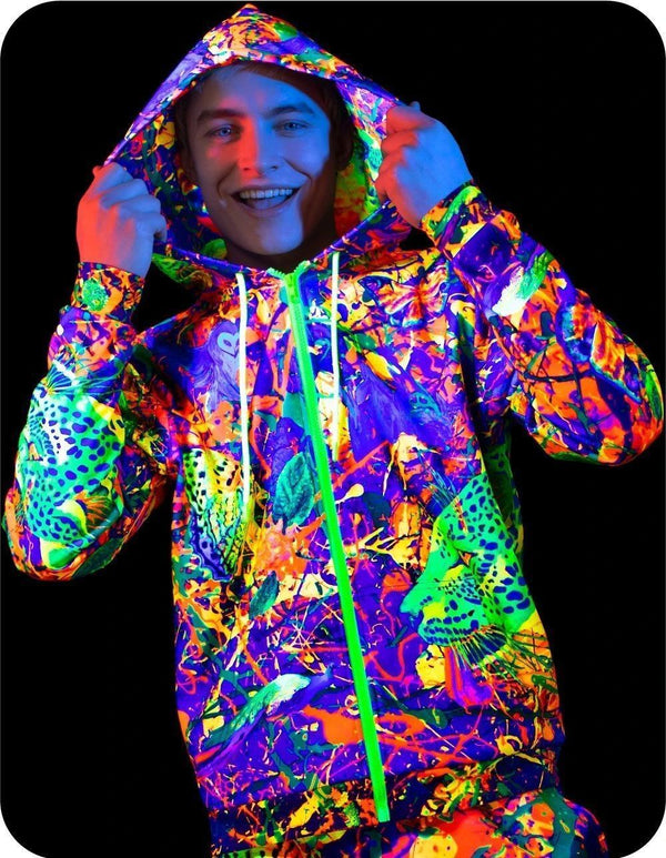UV Reactive Hoody Mens Neon Splash Flamingo zhm3