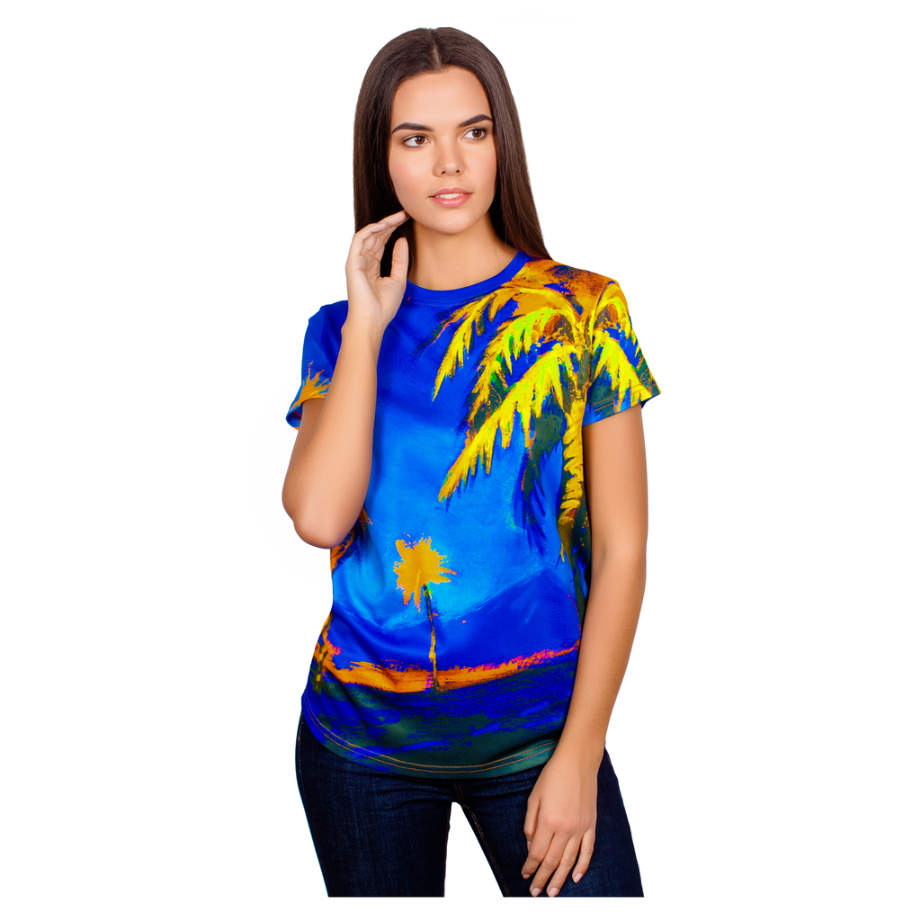 neon hawaii palm women-t-shirt - aofmoka