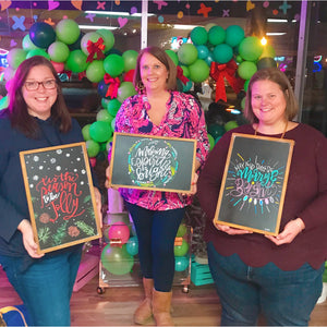 Virtual Hand Lettered Chalkboards Workshop - Winter Holiday Edition - Private Group for Sweaty Tears of Joy