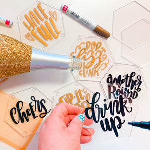 Virtual Hand Lettered Coasters Workshop Kit + On-Demand Video