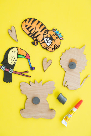Virtual Hand Painted Party Animals Magnets Kit + Workshop - March 2
