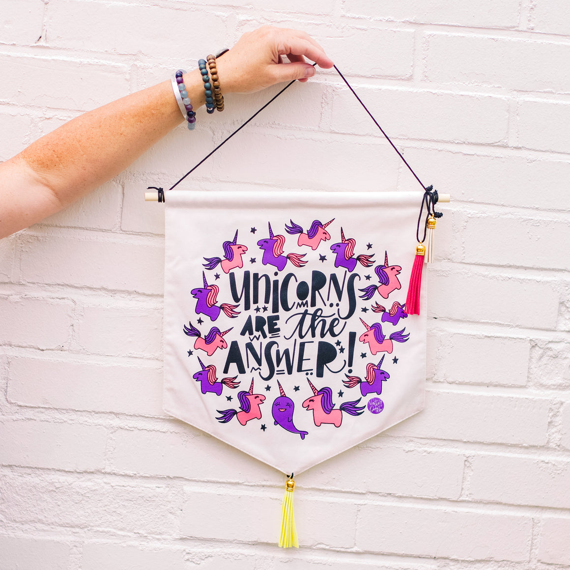 Unicorns Are the Answer Wall Hanging