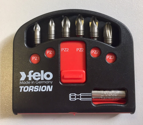FELO torsion screwdriver bit kit with magnetic holder - for use with impact drivers
