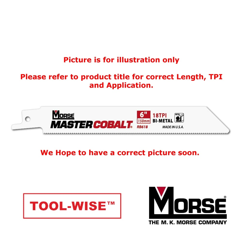 "Metal Cutting - 150mm (6"") -  18TPI Master Cobalt Reciprocating 1.3mm (.050"") Thick Saw Blade"
