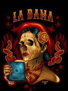 La Dama Dark Red short sleeve t-shirt