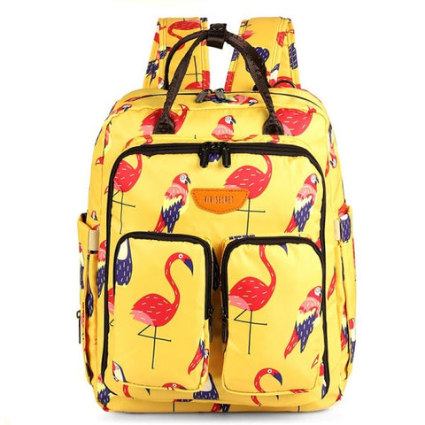 Backpack Style Diaper Bag -Flamingo Toucan