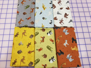 Lewis & Irene Small Things World Animals Blue Fat Quarter Bundle