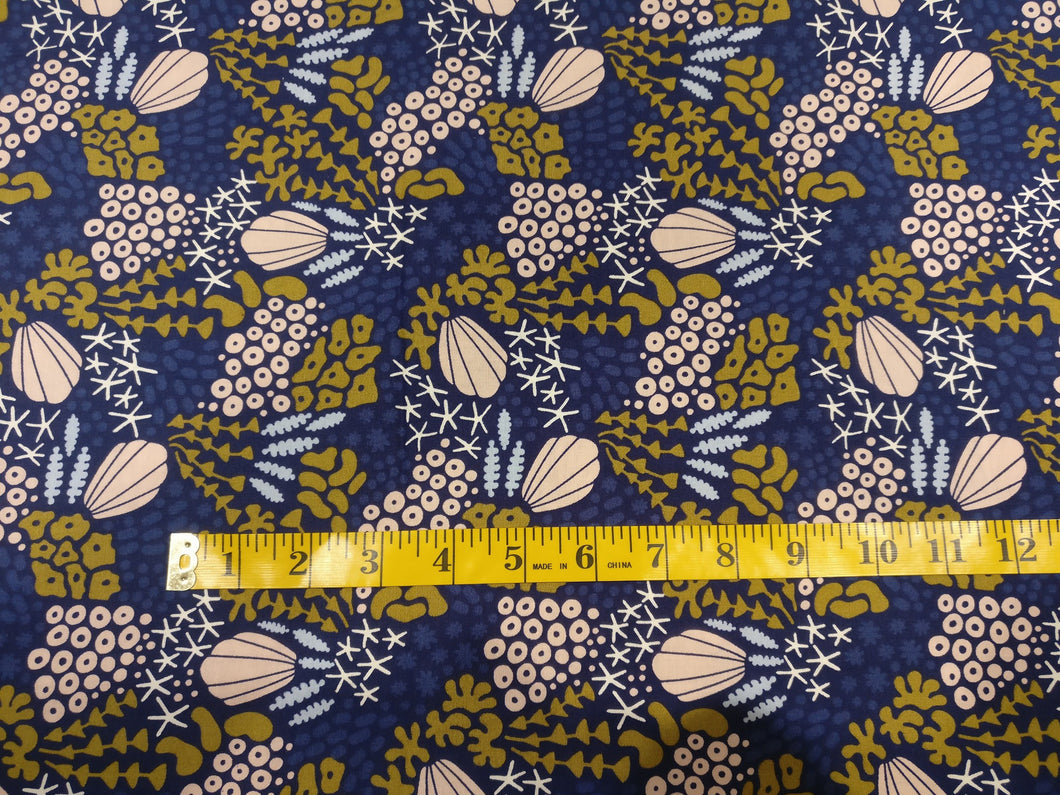 Seashells underwater organic cotton fabric from Cloud 9