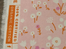 Pink certified organic cotton fabric with white flowers from Cloud 9