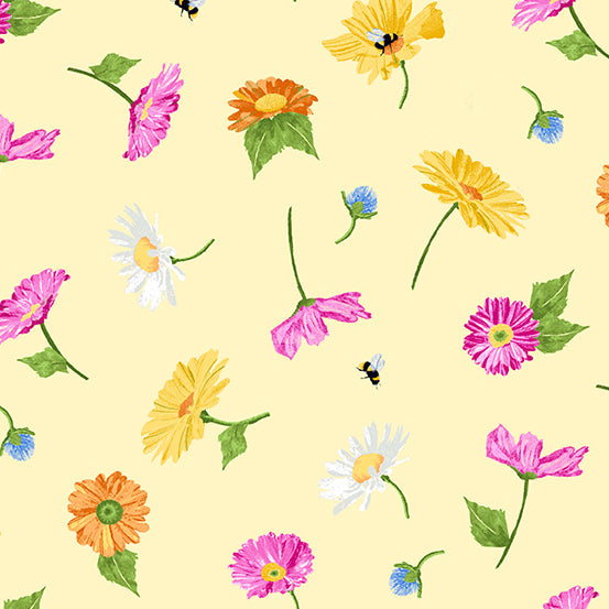 Andover Meow Meadow Floral - Yellow