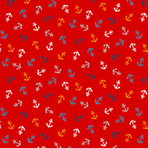 Andover Sail Away Anchors Fabric - Red