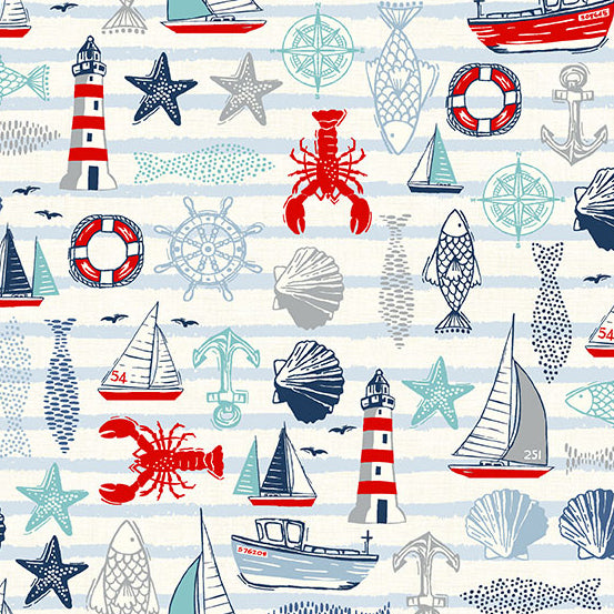 Andover Sail Away Icons Fabric - Light Cream