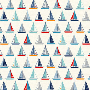 Andover Sail Away Yachts Fabric - White