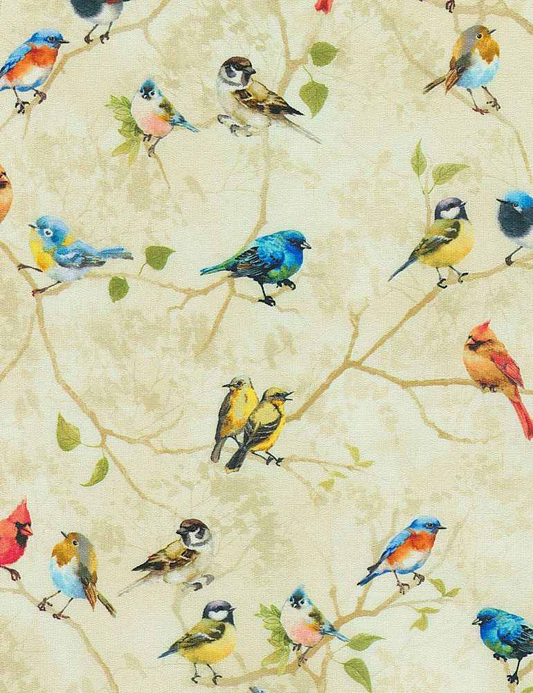 Timeless Treasures Bird Song Painted Perched Birds