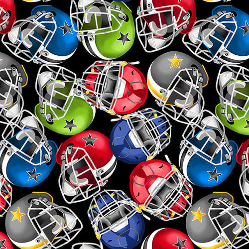 Blank Quilting Love Of The Game Football Helmets
