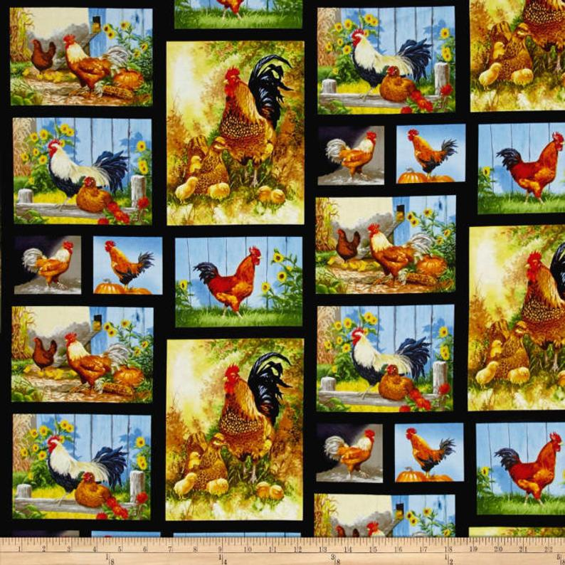 Blank Quilting Farmstead Chicken & Rooster Fabric