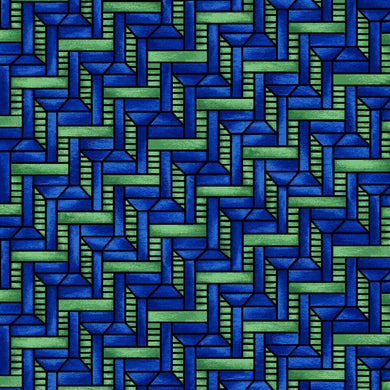 Geometric blue quilting fabric