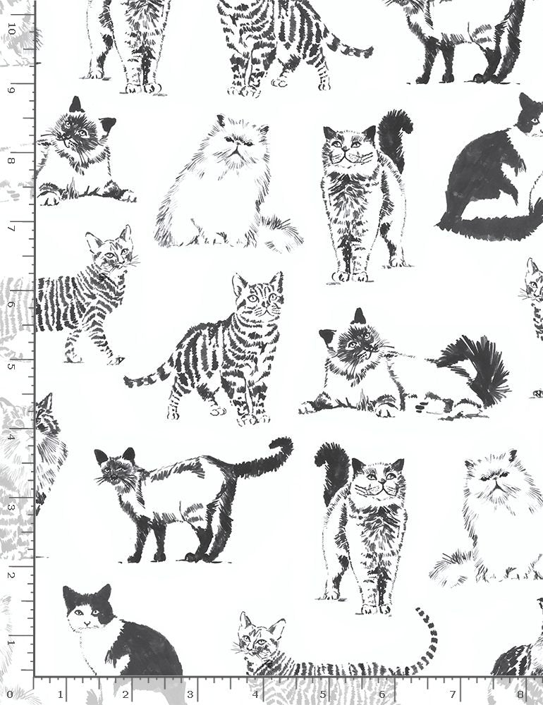 Timeless Treasures Cat Lady Sketched Cats