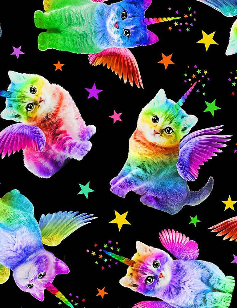 Timeless Treasures Crazy For Cats Rainbow Unicorn Cats