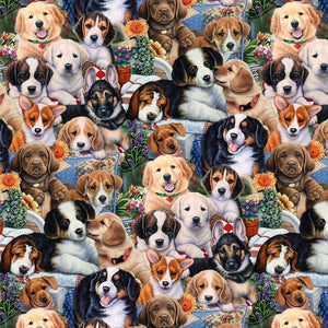 David Textiles Garden Puppies Fabric