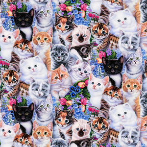 David Textiles Animal Tradition Kittens & Flowers Fabric