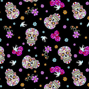 Folkloric Skulls On Black With Silver Glitter - Day Of The Dead