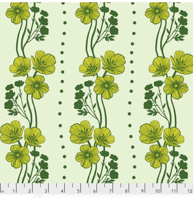 Free Spirit Triple Take Buttercups Quilting Cotton - Lime