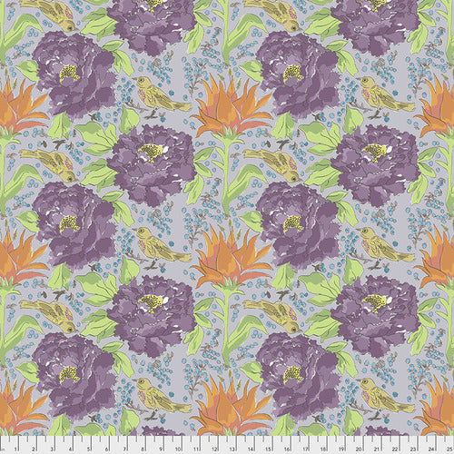 Free Spirit Colour Fusion Bird Of Paradise Fabric - Grey
