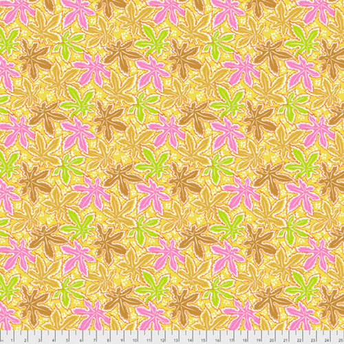 Kaffe Fassett collective stash Lacy Leaf Yellow cotton