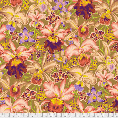 Kaffe Fassett Collective Stash Orchids Brown Fabric